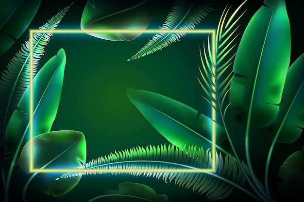 Wallpaper with realistic leaves with neon frame
