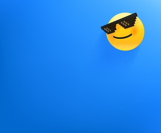 Wallpaper with smiling emoji. background with copy space