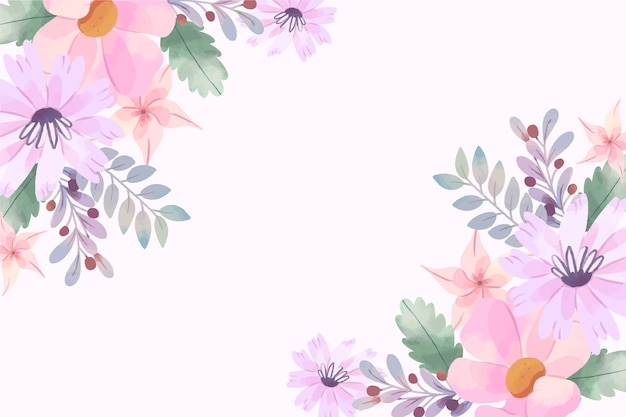 Wallpaper with watercolor flowers in pastel colors