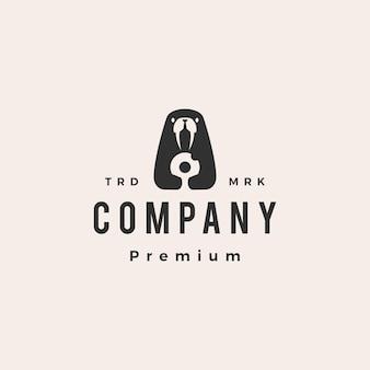 Морж пончики битник старинный логотип шаблон