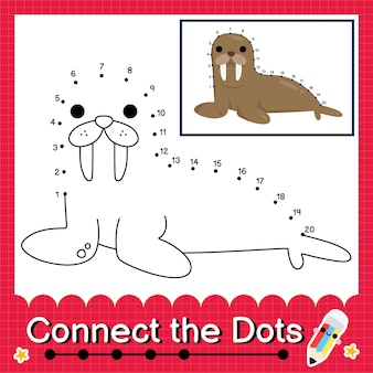 Walrus kids puzzle connect the dots worksheet for children counting numbers 1 to 20