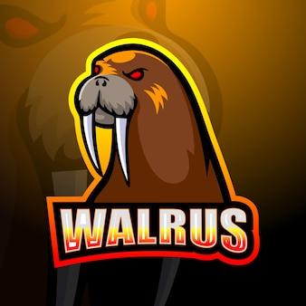 セイウチのマスコットeスポーツロゴデザイン