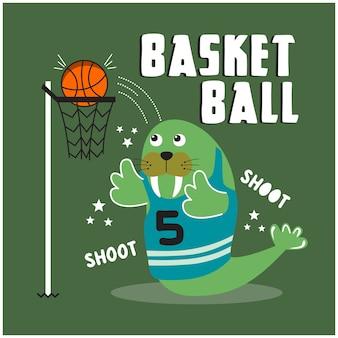 Морж играет в баскетбол смешные животные мультфильм иллюстрации