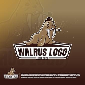 Walrus with fangs logo template