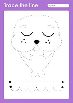 Walrus - таблица дошкольных работ по трассировке линий для детей для отработки мелкой моторики