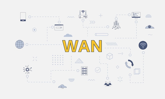 Wan wide area network concept with icon set with big word or text on center