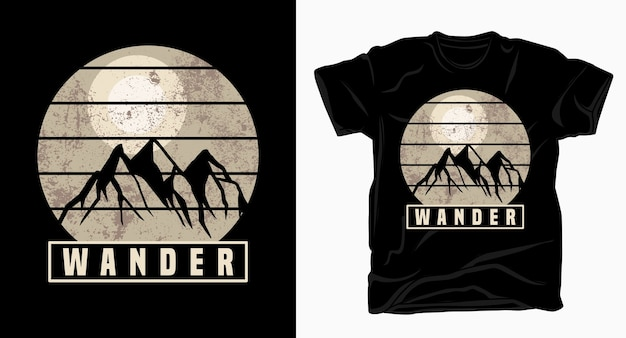 Wander typography with mountains t-shirt