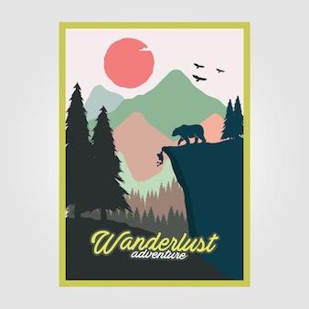 ワンダーラストアドベンチャーヴィンテージポスターイラストデザイン、旅行ポスターデザイン、登山ポスター、屋外