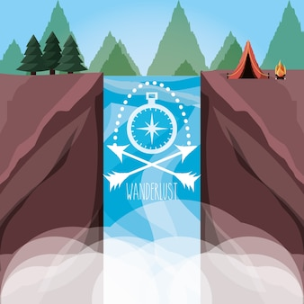 Wanderlust aventure with landscape and explorer nature