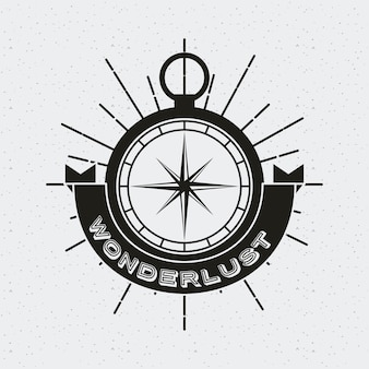 Wanderlust card with compass icon