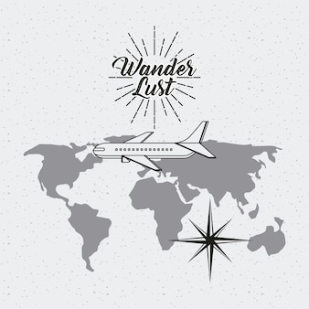 Wanderlust card with world map and airplane icon.