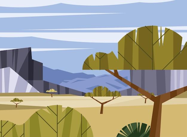 나무와 방랑 풍경 장면