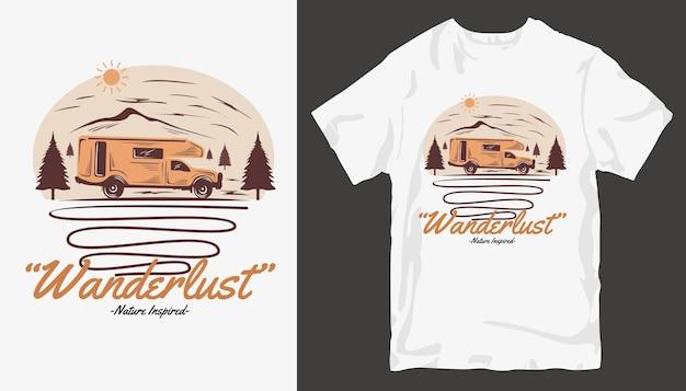 Дизайн футболки wanderlust, дизайн футболки adventure.