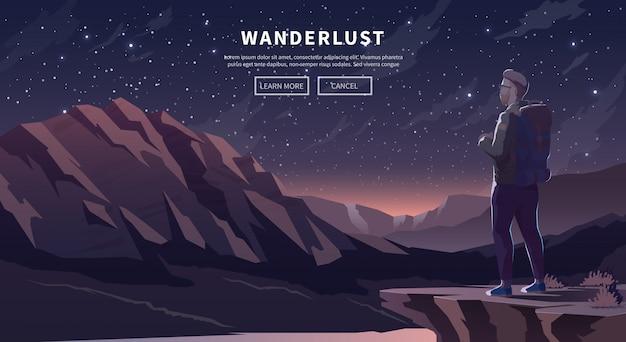 Плоский путешествия веб-баннер. wanderlust.