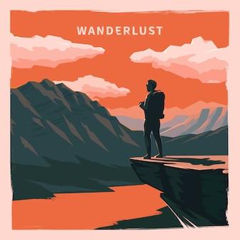 Старинный плакат. wanderlust.