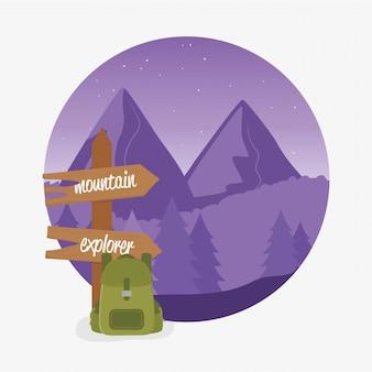 Wanderlust этикетка с пейзажем и дорожной сумкой
