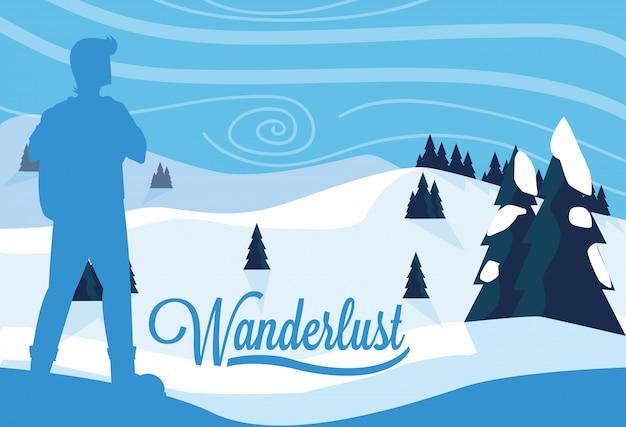 Плакат wanderlust с иллюстрацией путешественника и снежного пейзажа