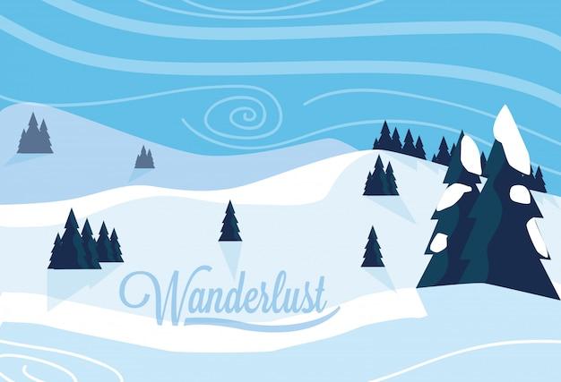 Плакат wanderlust с иллюстрацией снежного пейзажа