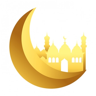 Waning moon with islamic building