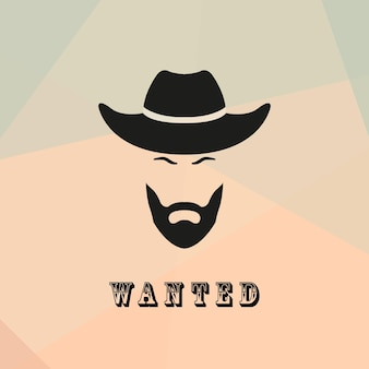 Wanted cowboy with a beard and mustache