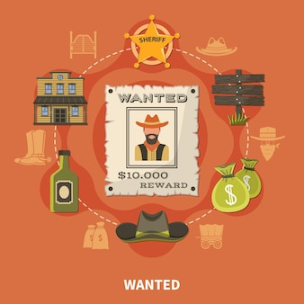 Wanted person, bearded cowboy, round composition with sheriffs badge, money bags, alcohol