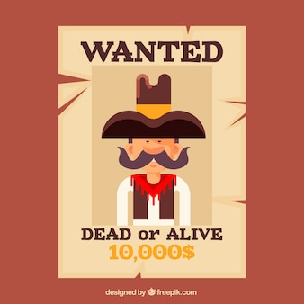 Wanted poster for alive or dead criminal