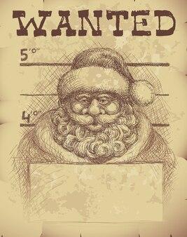 サンタクロースの指名手配のポスター