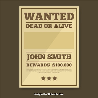 Wanted poster template in brown tones