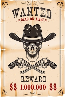 Wanted poster template illustration