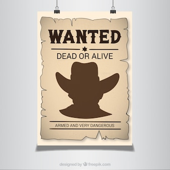 Wanted poster in western style