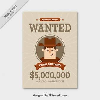 Wanted poster with brown details in flat design