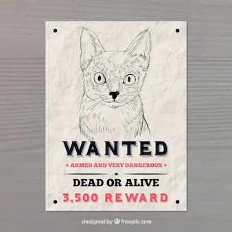 Wanted poster with cat