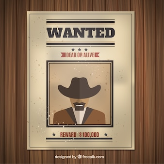Wanted poster with criminal in flat design