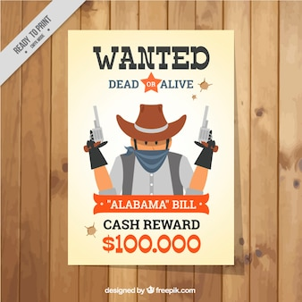 Wanted poster with dangerous criminal in flat design