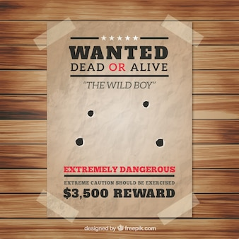 Wanted poster with four bullet holes