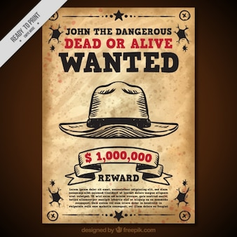 Wanted poster with hat in vintage style bc232e37b594