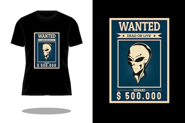 Wanted retro vintage t shirt design