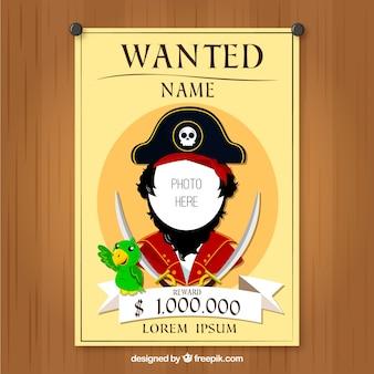 Wanted постер дизайна пиратского