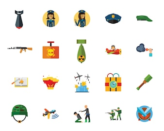War and terror creative icon set