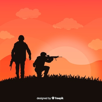 군인의 실루엣 전쟁 배경