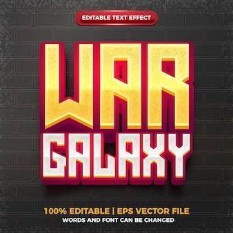 전쟁 은하계 3d 편집 가능한 텍스트 효과