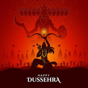 War of lord rama and ravana happy dussehra navratri and durga puja festival of india