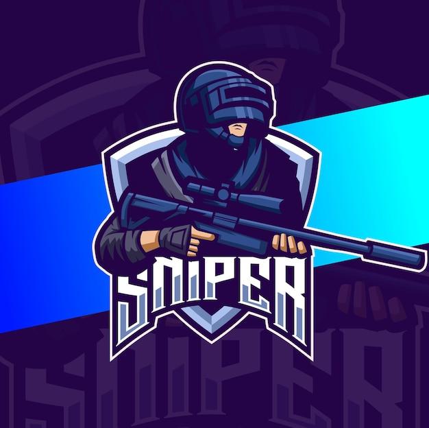 Военный снайперский отряд талисман киберспорт дизайн логотипа