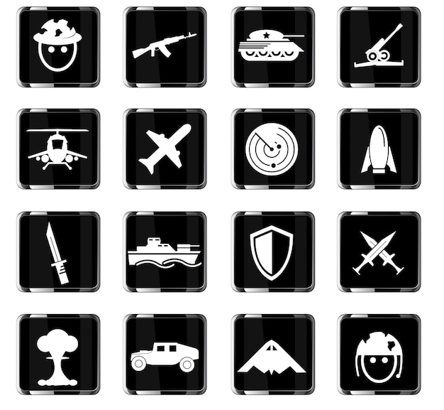 War symbols vector icons for user interface design