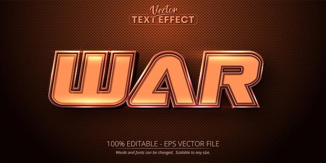 戦争テキストの茶色の色スタイルの編集可能なテキスト効果