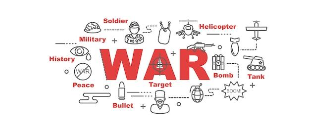 戦争のベクトルのバナー Premiumベクター
