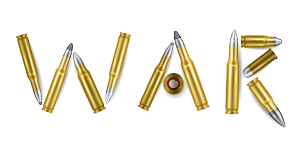 Parola di guerra composizione realistica di proiettili d'oro isolati