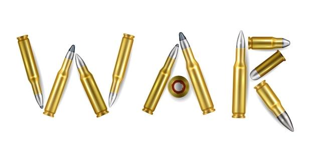 Военное слово реалистичная композиция из изолированных золотых пуль