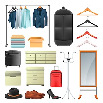 Wardrobe clothes and boxes or hangers vector icons collection set