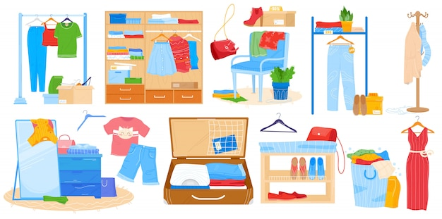 Wardrobe for clothes  illustration, cartoon  room furniture set, opened cupboard closet with woman man clothing  on white